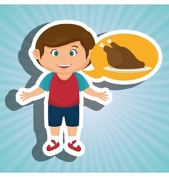 Boy cartoon chicken food vector