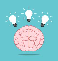 Brain with three lightbulbs vector