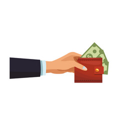 businessman hand with wallet vector image