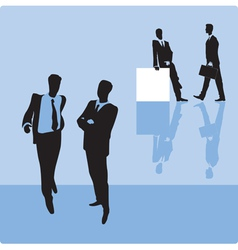 Businessmen on blue background vector image