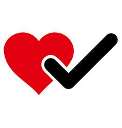 Checked love heart icon vector