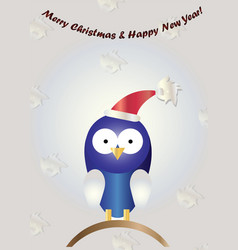 christmas card with blue cartoon bird vector image