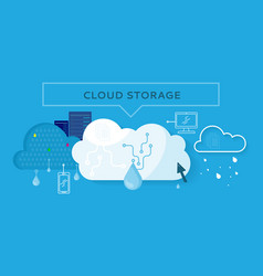 Cloud storage web banner in flat style vector