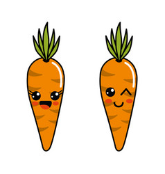 Color kawaii happy and funny carrots icon vector
