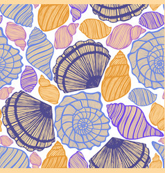 colored background with seashells vector image