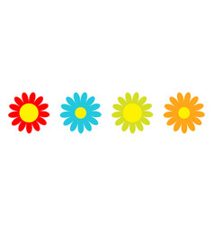 colorful daisy chamomile icon set line cute vector image