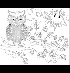 coloring pages birds cute owl sits on the tree vector image