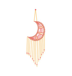 Crescent-shaped macrame decoration flat sketch vector