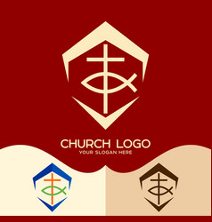 Cross and fish vector