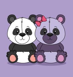 cute bears pandas couple characters vector image
