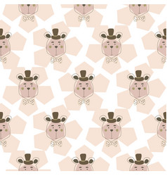 cute teddy bears on floral pink pattern background vector image