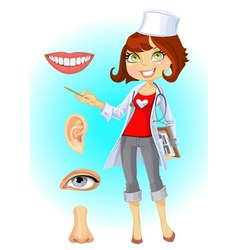 Cute woman doctor indicating that the part of face vector image