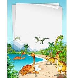 Dinosaurs at the ocean vector