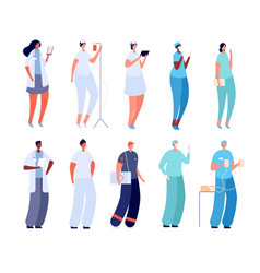 doctor and nurse flat hospital intern surgeon vector image