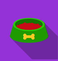 dog bowl icon in flat style for web vector image