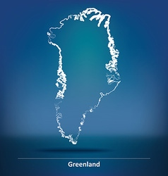 Doodle Map of Greenland vector image