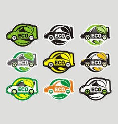 Eco electric car nine icons vector
