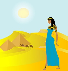Egyptian background with ancient woman and vector