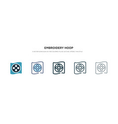 Embroidery hoop icon in different style two vector