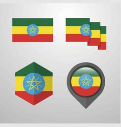 Ethiopia flag design set vector