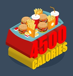 Fast food calorie range Many of junk food vector