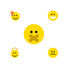 Flat icon expression set sad angel grin and vector