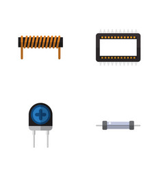 flat icon technology set of mainframe transducer vector image