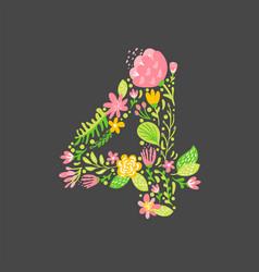 floral summer number 4 four flower capital vector image
