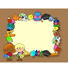 Frame of school stuff with pupil vector image