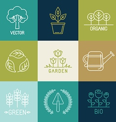 Gardening logo design elements vector