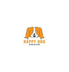Golden retriever dog face cute logo design cartoon vector