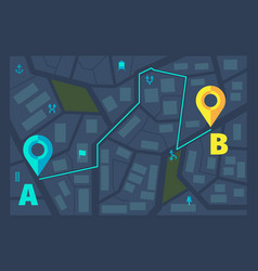 gps ui dark theme city tracking maps route vector image