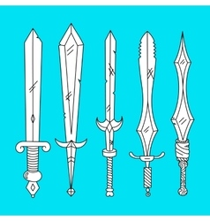 Hand drown set of swords vector