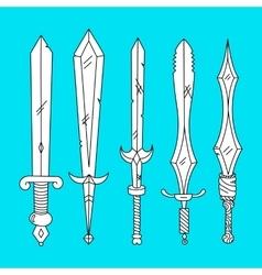hand drown set of swords vector image