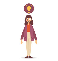 Happy asian woman standing light bulb drawn above vector