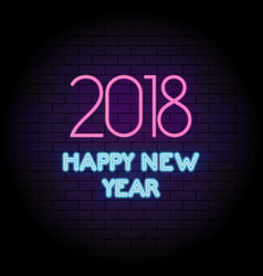 happy new year 2018 pink neon light greeting card vector image