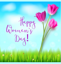 happy women day greetings card pink tulips vector image