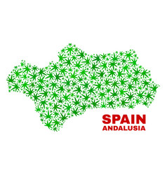 Hemp leaves collage andalusia province map vector