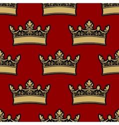 Heraldic crown seamless pattern vector image