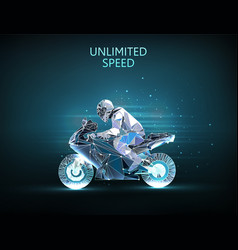 high speed concept motorcycle and racer vector image