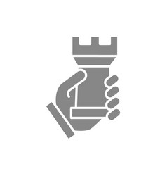 Human holding rook chess gray icon board game vector