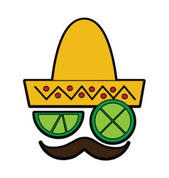 lemon lime eyes with mustache and sombrero mexico vector image