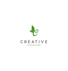 letter c naturally leaf creative business logo vector image