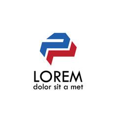 letter p tech logo vector image