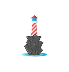 lighthouse on rocks with water at foot the vector image
