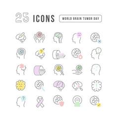 line icons world brain tumor day vector image