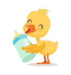 Little yellow duck chick holding a bottle of milk vector