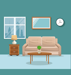 living room sofa table potplant clock lamp mirrow vector image