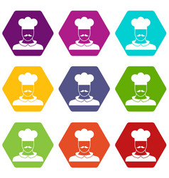 male chef cook icon set color hexahedron vector image