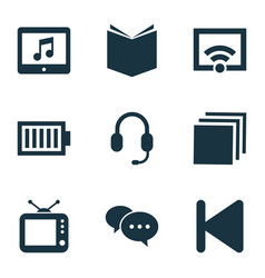 Media icons set with tv categories comment and vector